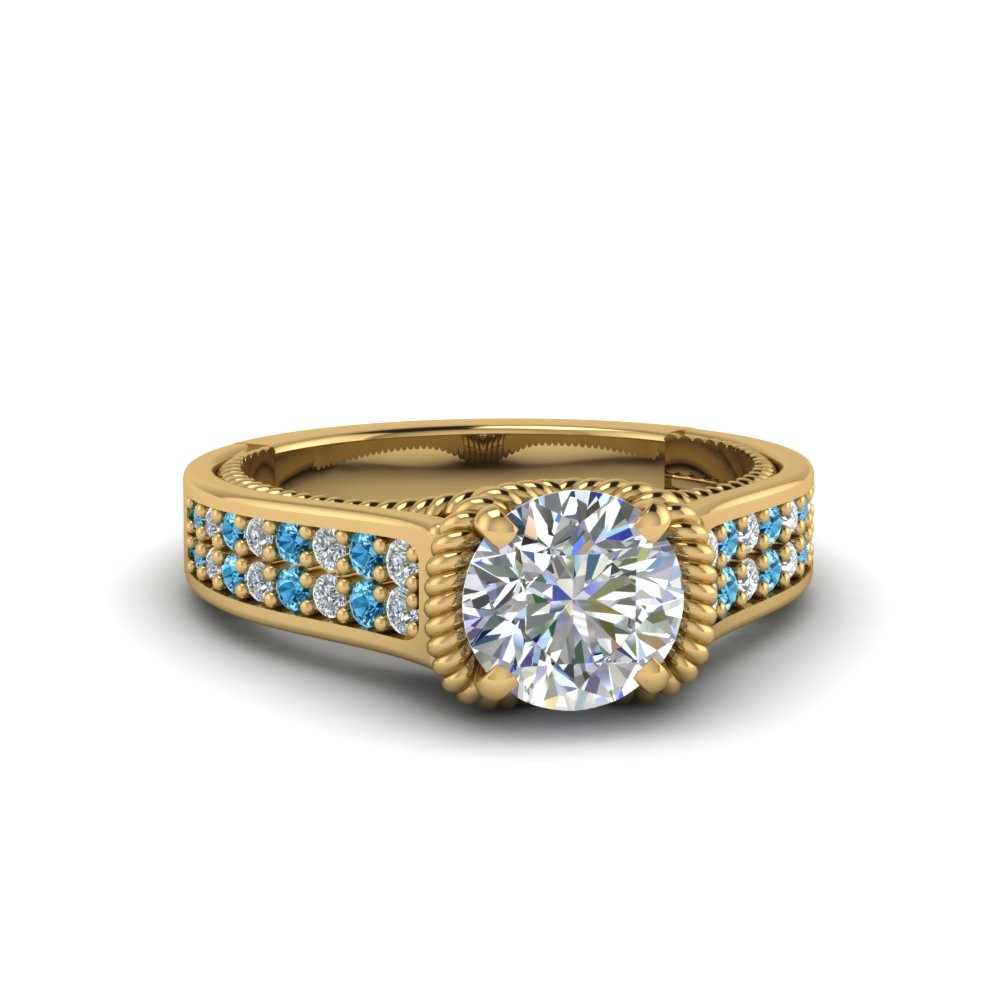 Gold Thick Band Blue Topaz Womens Engagement Ring
