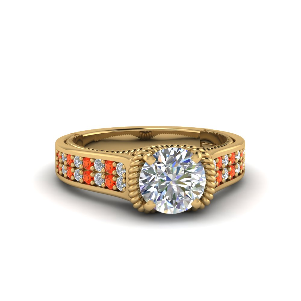 round cut pave 2 row diamond engagement ring with poppy topaz in 14K yellow gold FDENR9508RORGPOTO NL YG