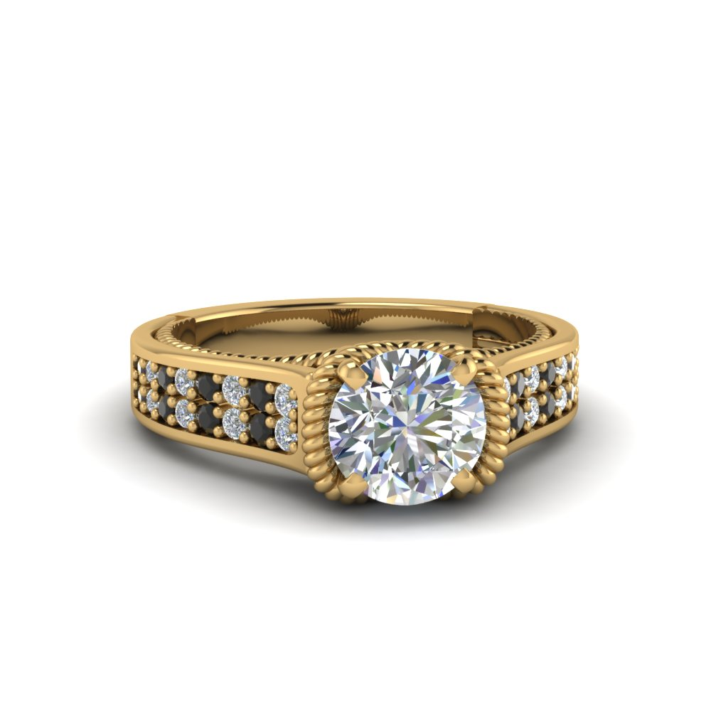 round cut pave 2 row engagement ring with black diamond in 14K yellow gold FDENR9508RORGBLACK NL YG