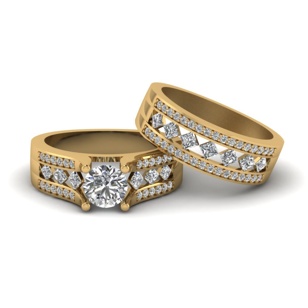 round cut pave and kite shaped diamond bridal set in 14K yellow gold FDENS1149RO NL YG