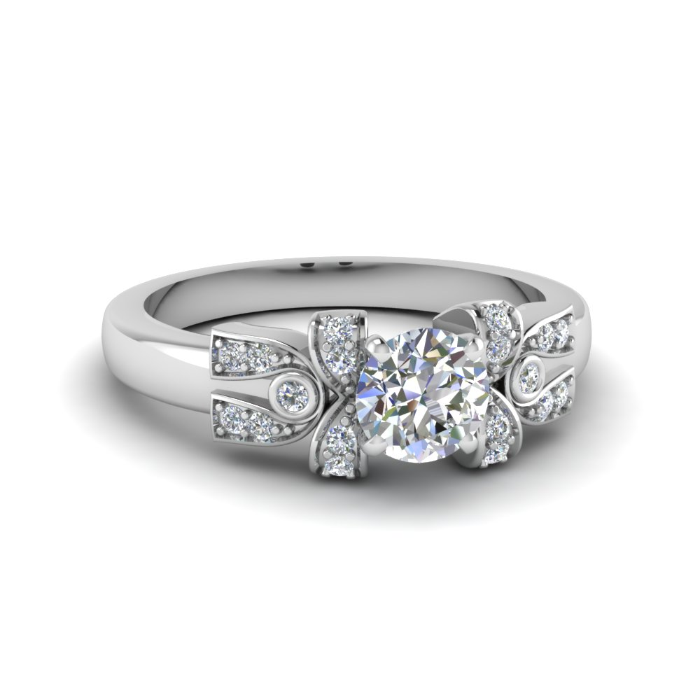 round cut pave antique looking diamond accent engagement ring in FDENS3309ROR NL WG
