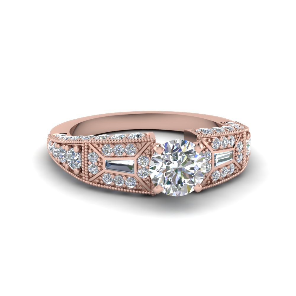 Round Cut Victorian Vintage Style Diamond Engagement Ring In 14k Rose Gold Fascinating Diamonds