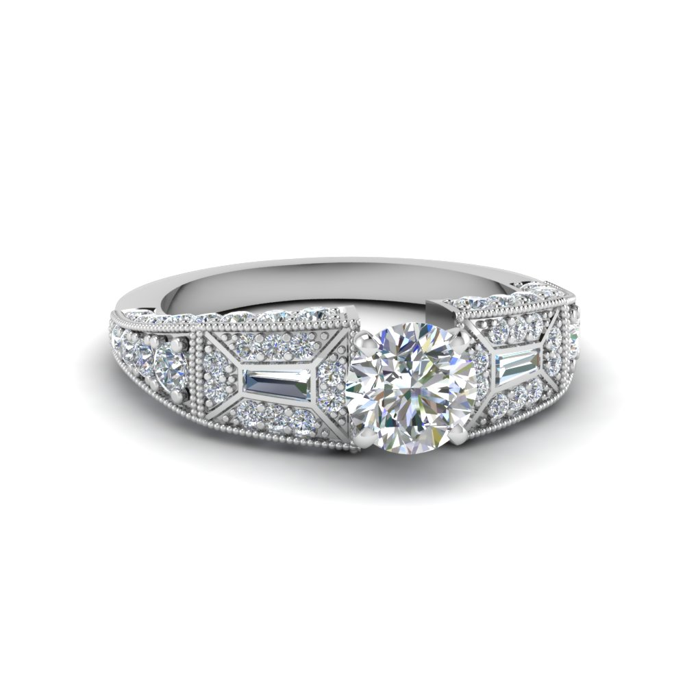 round cut pave antique style diamond engagement ring in 14K white gold FDENR8601ROR NL WG