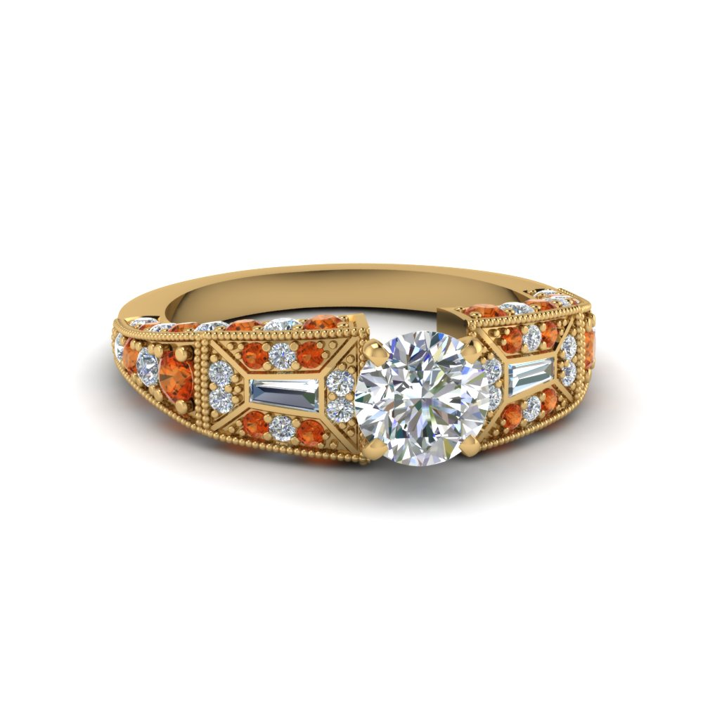 round cut victorian vintage style diamond engagement ring with orange sapphire in FDENR8601RORGSAOR NL YG