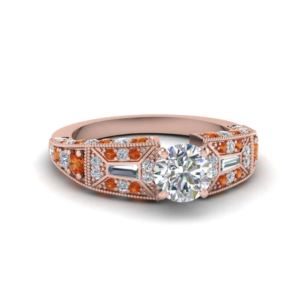 round cut victorian vintage style diamond engagement ring with orange sapphire in FDENR8601RORGSAOR NL RG