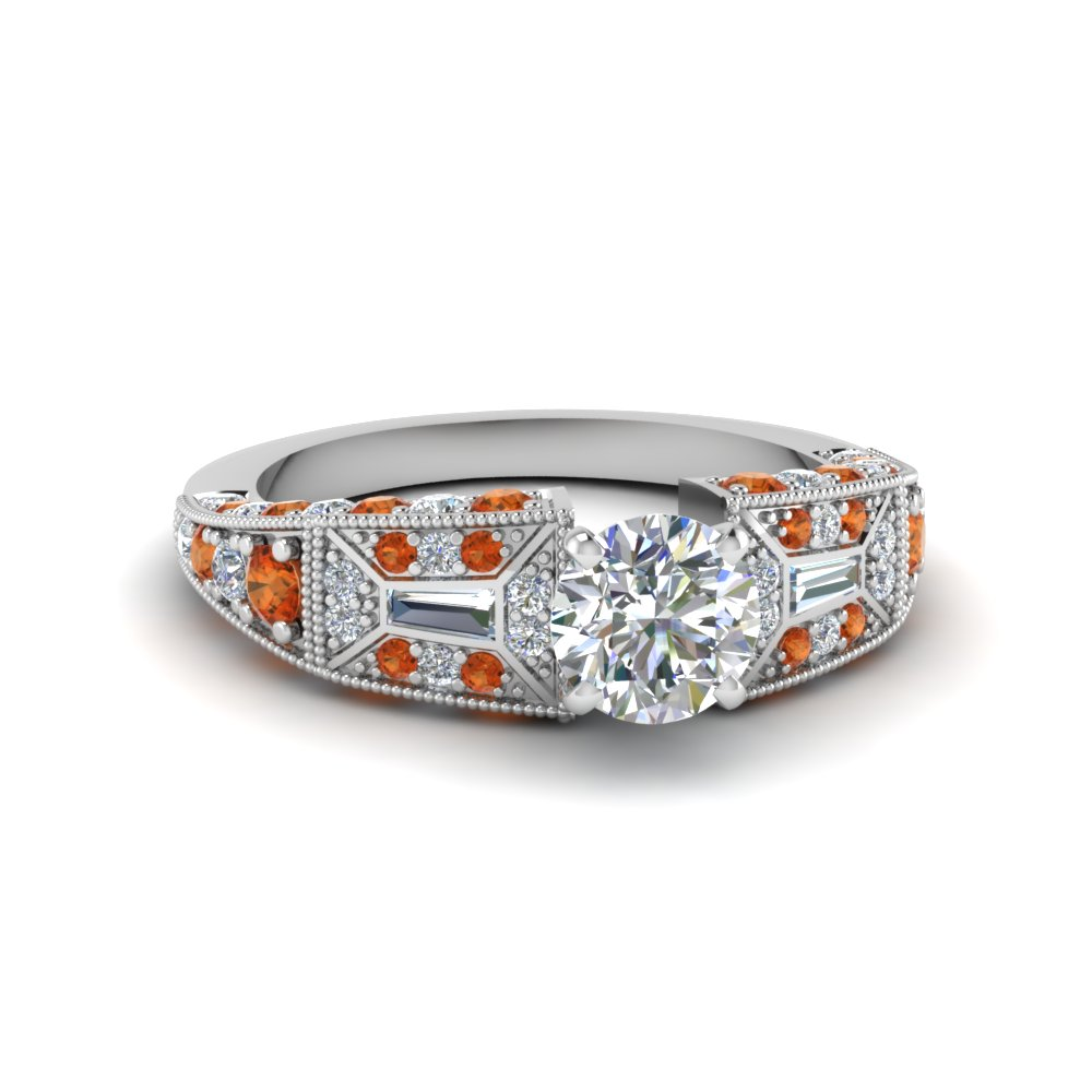 round cut victorian vintage style diamond engagement ring with orange sapphire in FDENR8601RORGSAOR NL WG