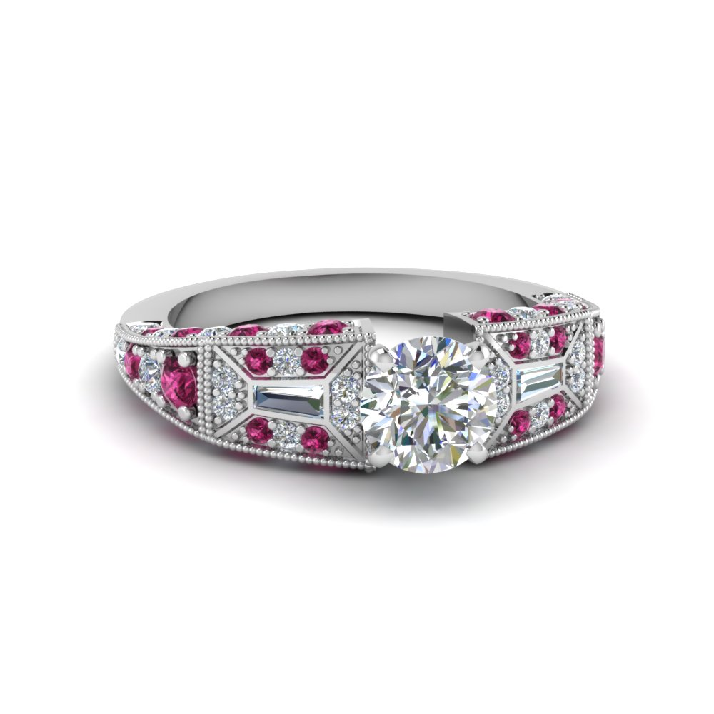 round cut victorian vintage style diamond engagement ring with pink sapphire in FDENR8601RORGSADRPI NL WG