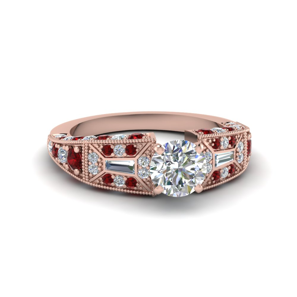 round cut victorian vintage style diamond engagement ring with ruby in FDENR8601RORGRUDR NL RG