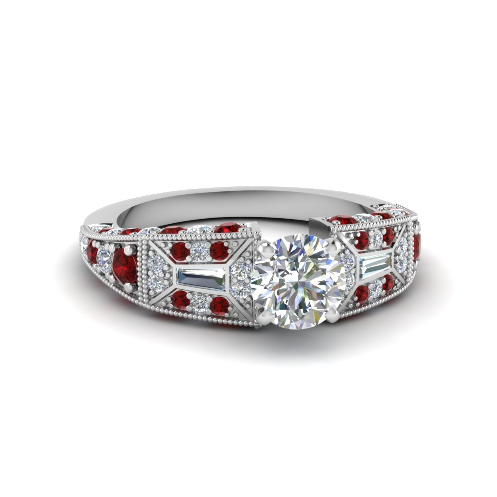 round cut victorian vintage style diamond engagement ring with ruby in FDENR8601RORGRUDR NL WG