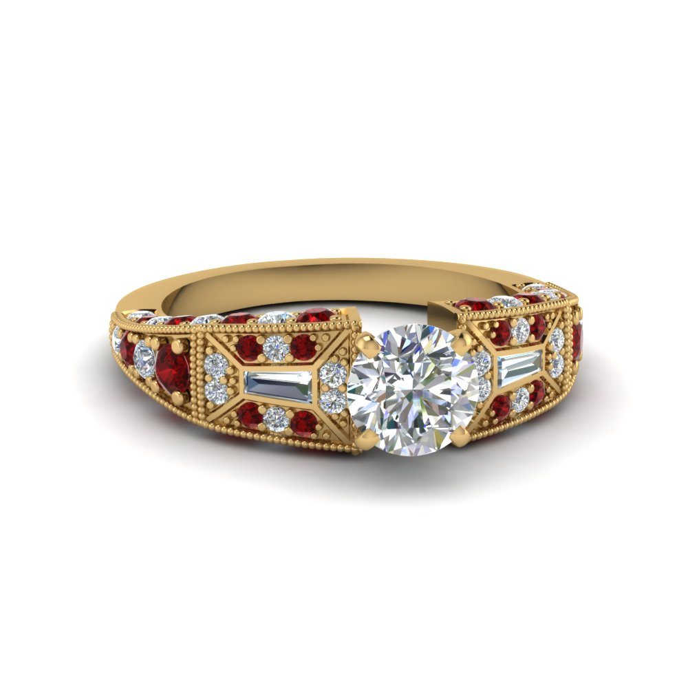 round cut victorian vintage style diamond engagement ring with ruby in FDENR8601RORGRUDR NL YG