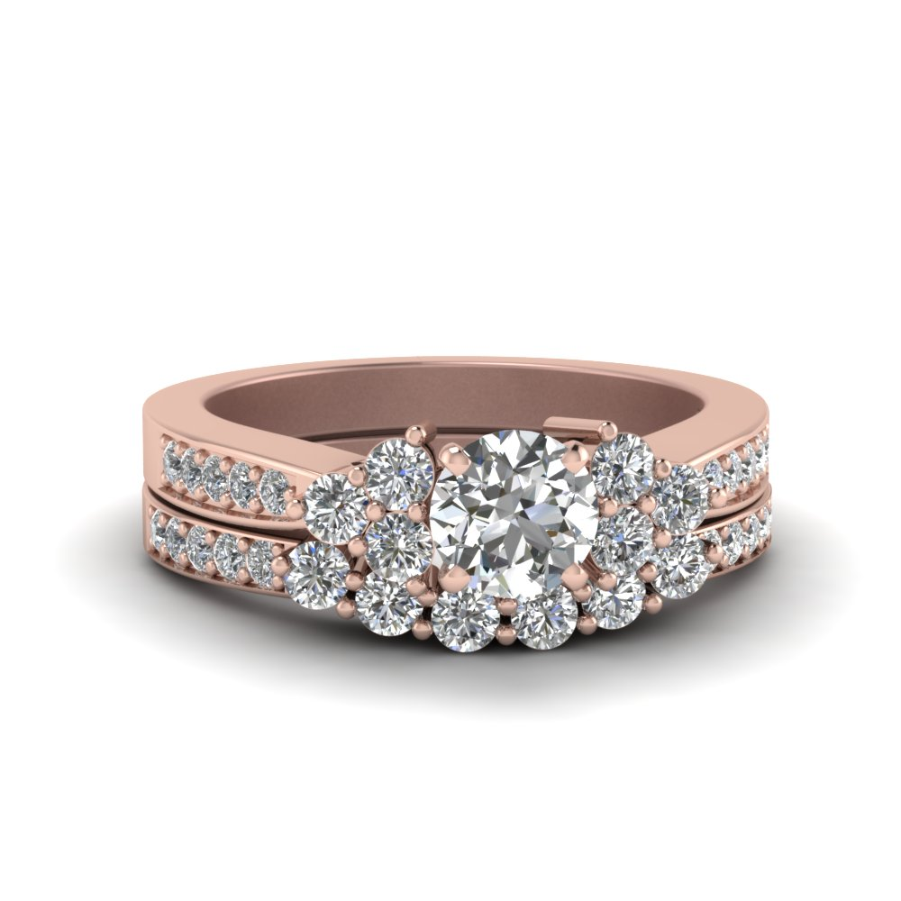 round cut pave cluster accent diamond wedding set in 14K rose gold FDENS3081RO NL RG