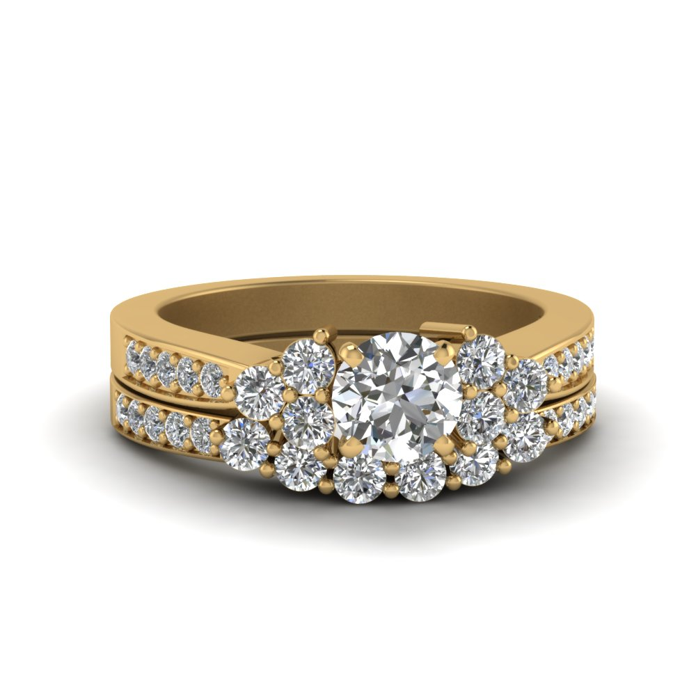 round cut pave cluster accent diamond wedding set in 14K yellow gold FDENS3081RO NL YG