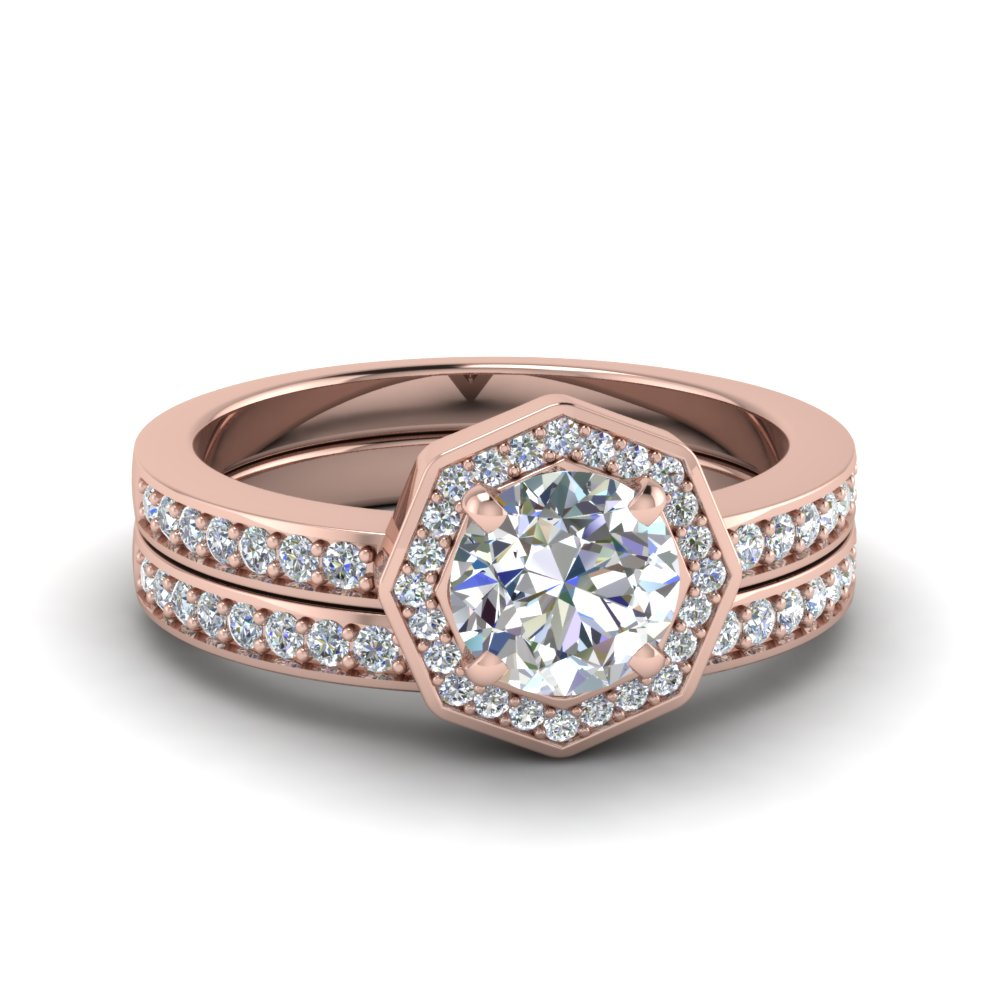 round cut pave diamond halo bridal set in 14k rose gold fdens3205ro nl rg - Halo Wedding Ring Sets