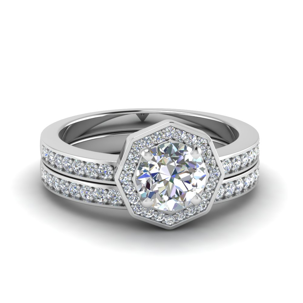 round cut pave diamond halo bridal set in 18k white gold