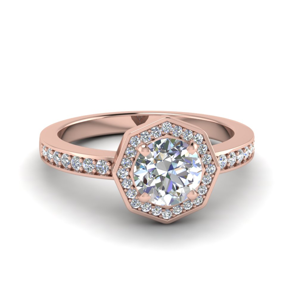round cut pave diamond halo engagement ring in 18K rose gold FDENS3205ROR NL RG