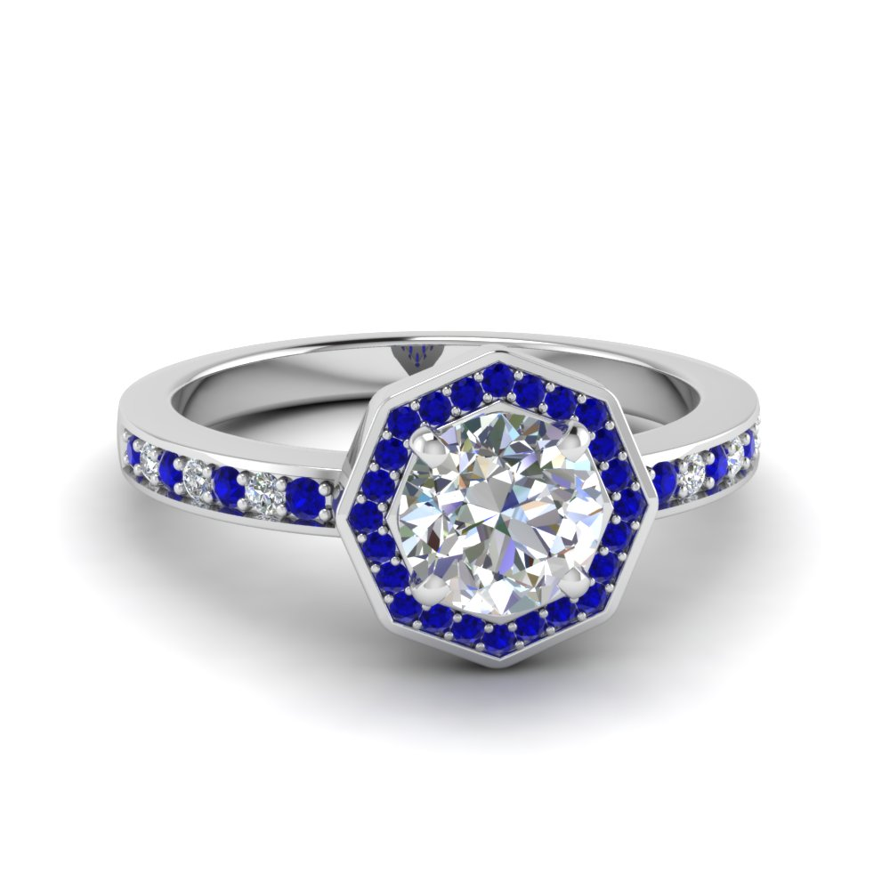 14k white gold blue sapphire halo engagement rings fascinating diamonds. Black Bedroom Furniture Sets. Home Design Ideas