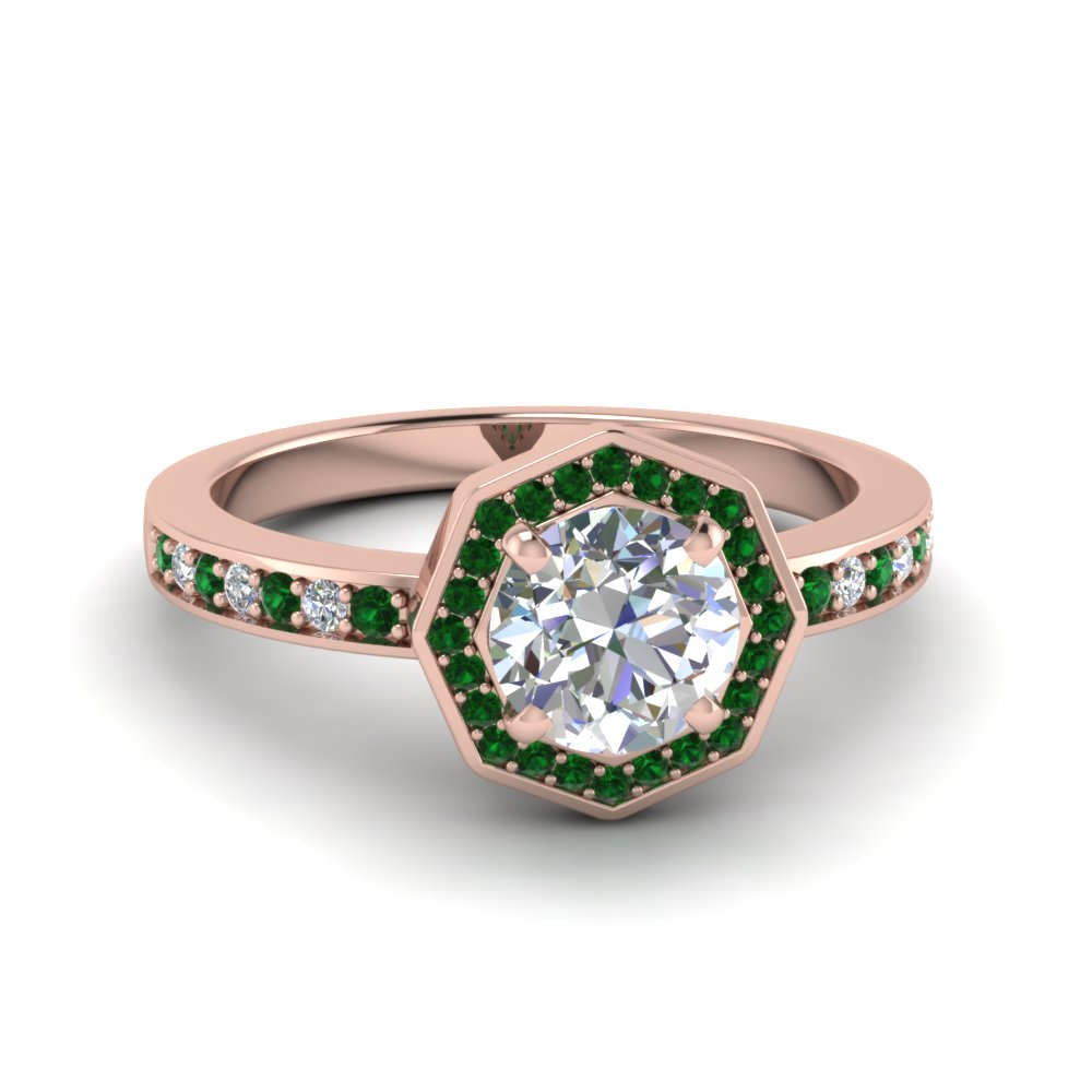 Halo Style Emerald Wedding Ring For Women