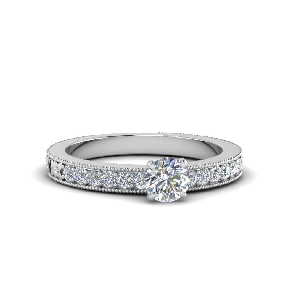 round cut pave diamond milgrain engagement ring in FDENS3516ROR NL WG