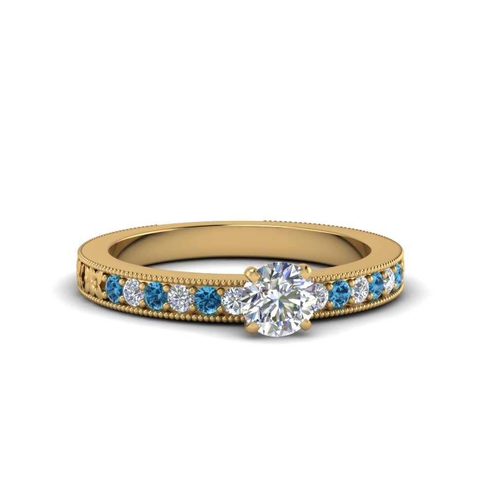 round cut pave moissanite milgrain engagement ring with ice blue topaz in FDENS3516RORGICBLTO NL YG