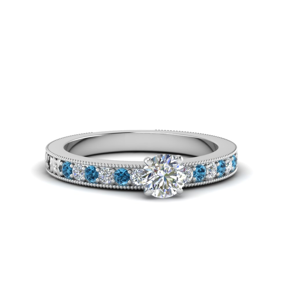 Round Cut Pave Diamond Ring
