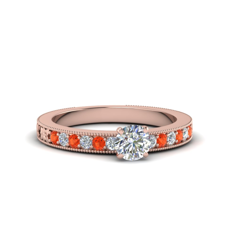 round cut pave diamond milgrain engagement ring with poppy topaz in FDENS3516RORGPOTO NL RG