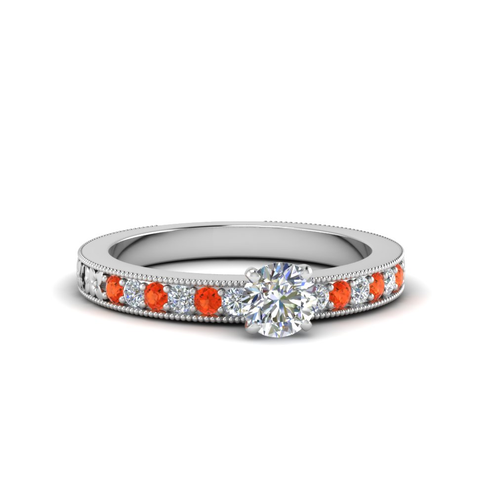 round cut pave diamond milgrain engagement ring with poppy topaz in FDENS3516RORGPOTO NL WG