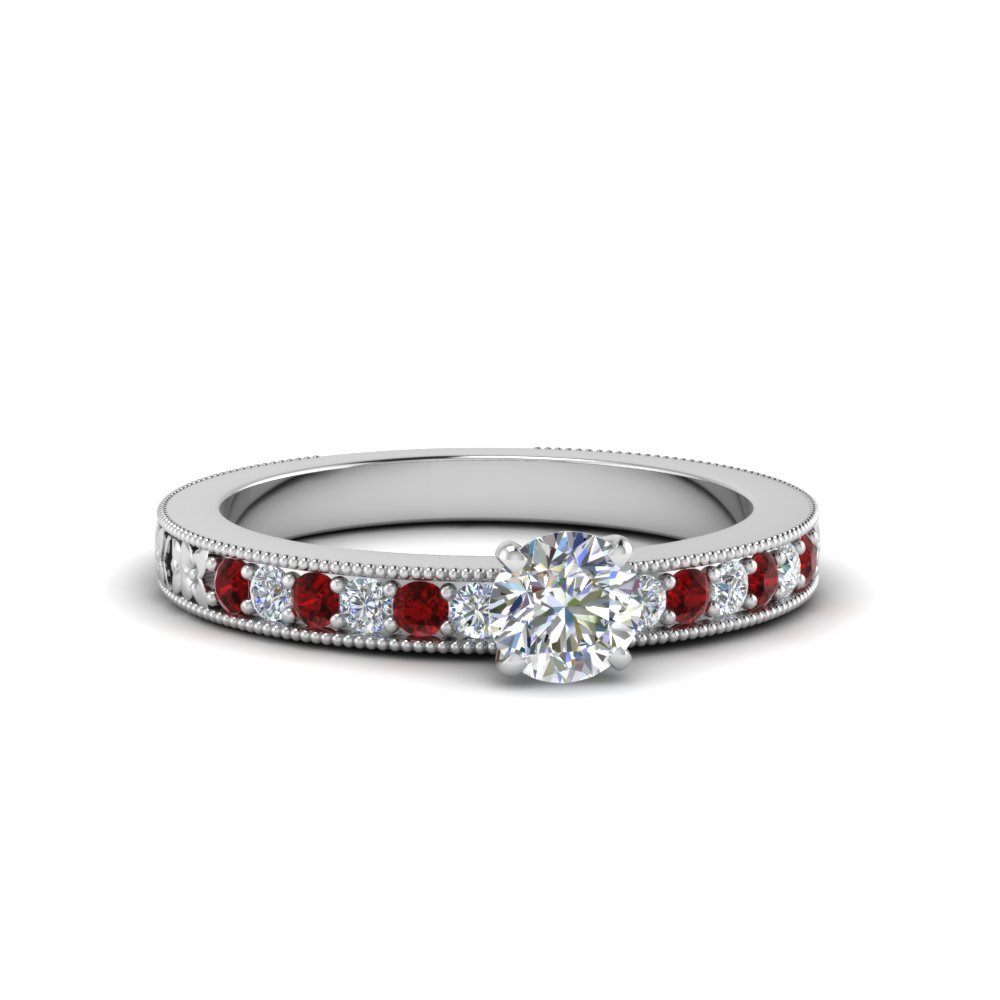 round cut pave diamond milgrain engagement ring with ruby in FDENS3516RORGRUDR NL WG