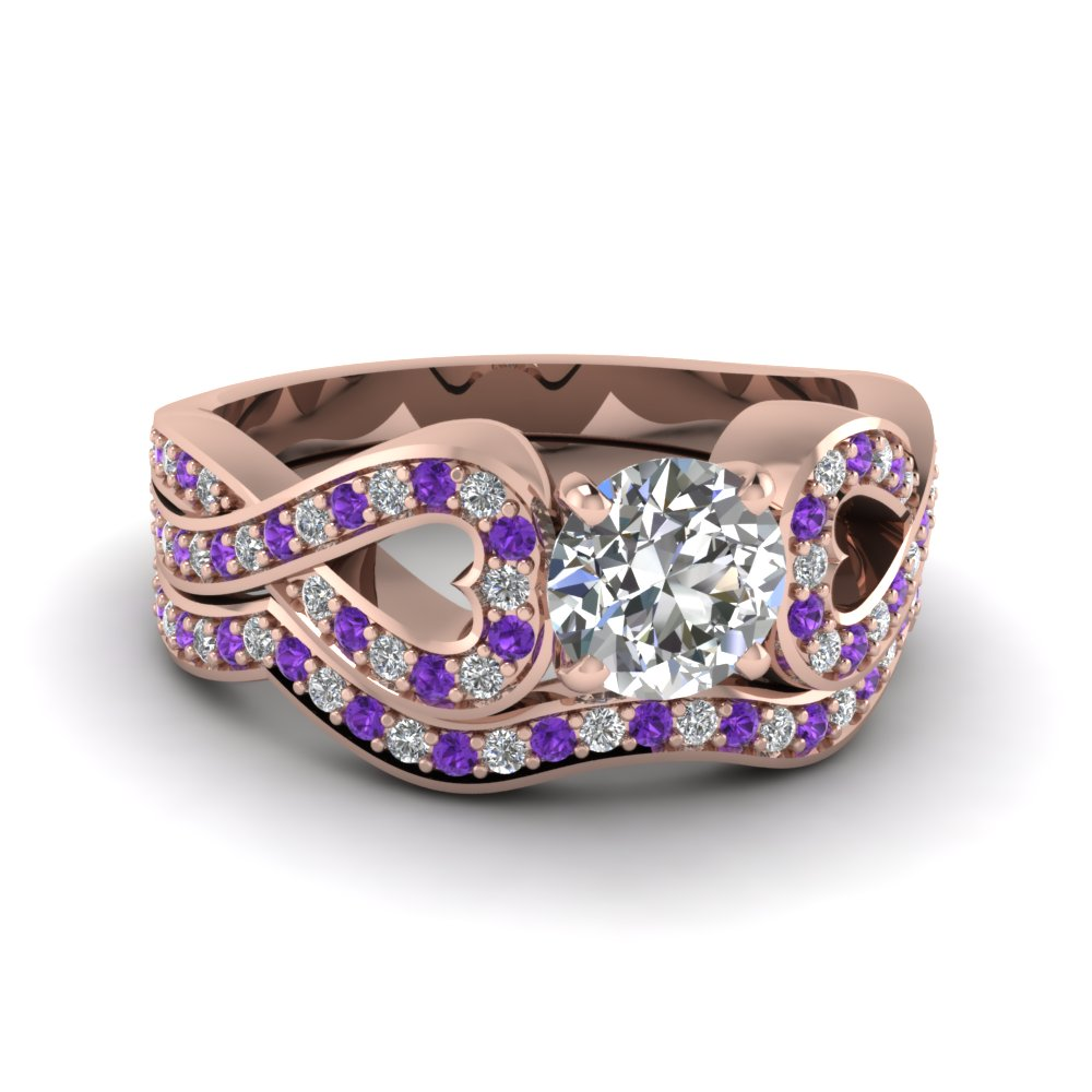 entwined round diamond wedding ring set with purple topaz in FDENS3311ROGVITO NL RG
