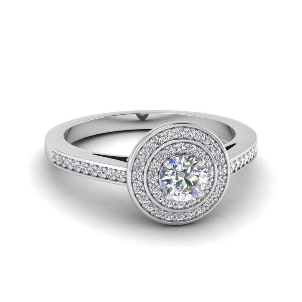 round cut pave double halo diamond engagement ring in 14K white gold FDENS3177ROR NL WG