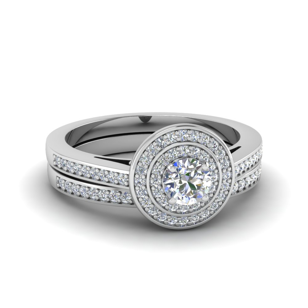 round cut pave double halo diamond wedding ring set in 14K white gold FDENS3177RO NL WG