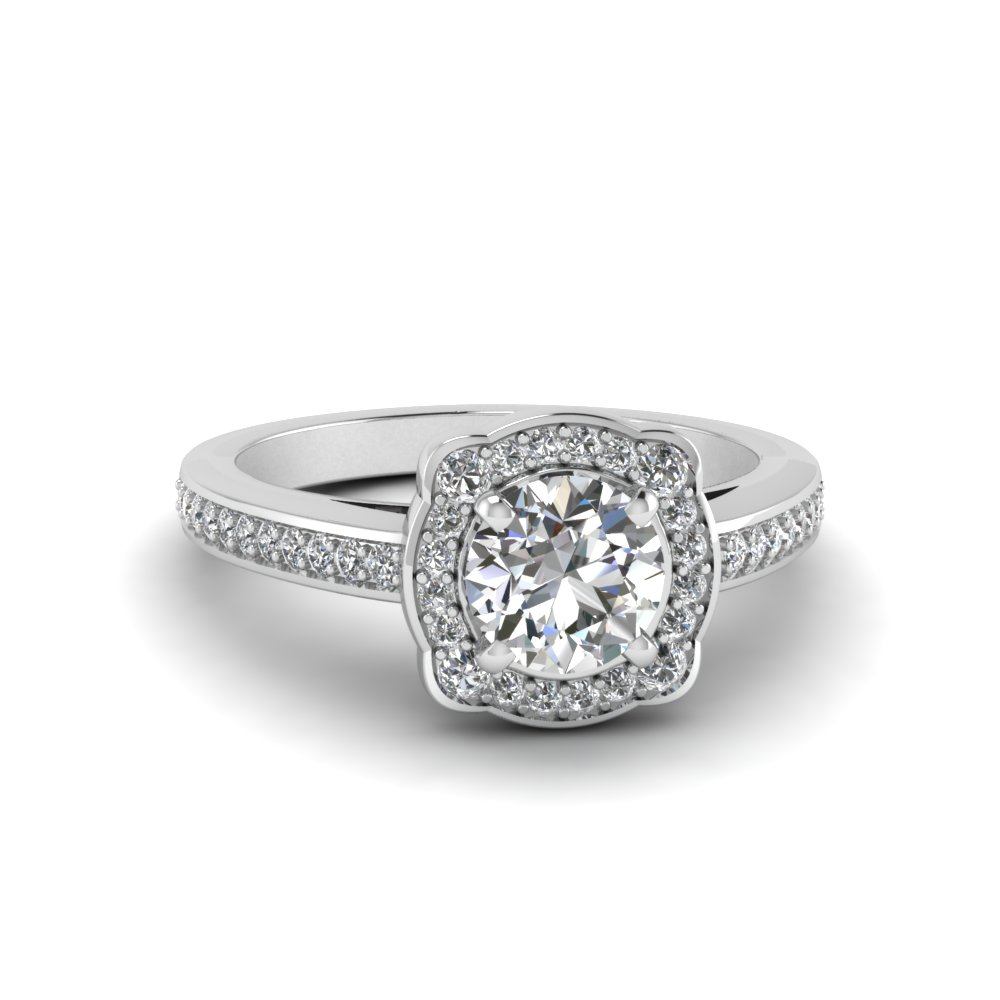 Round Cut Halo Pave Engagement Ring