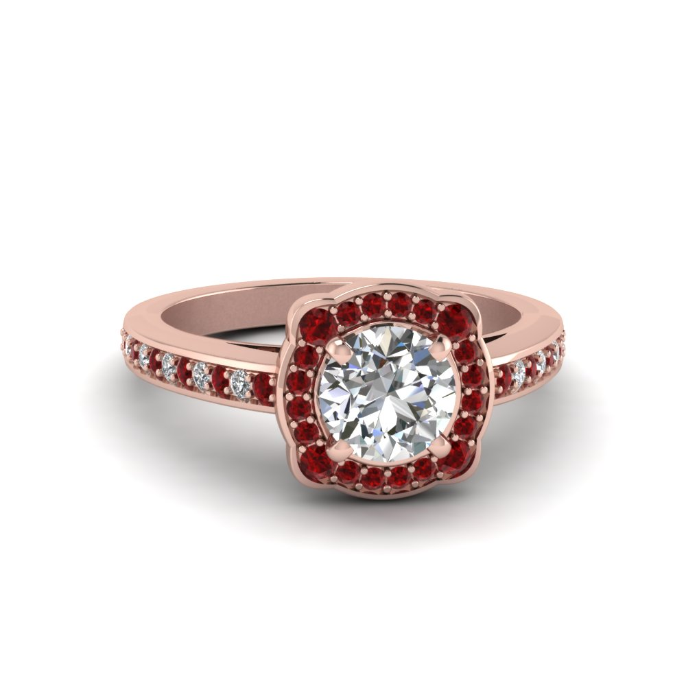 Diamond Halo Ruby Engagement Ring