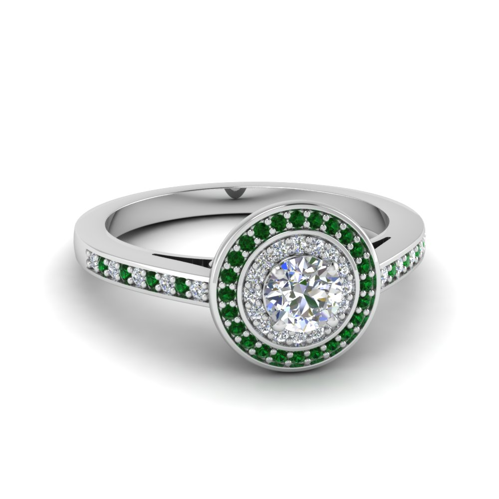 round cut pave halo diamond petite engagement ring with emerald in 18K white gold FDENS3177RORGEMGR NL WG