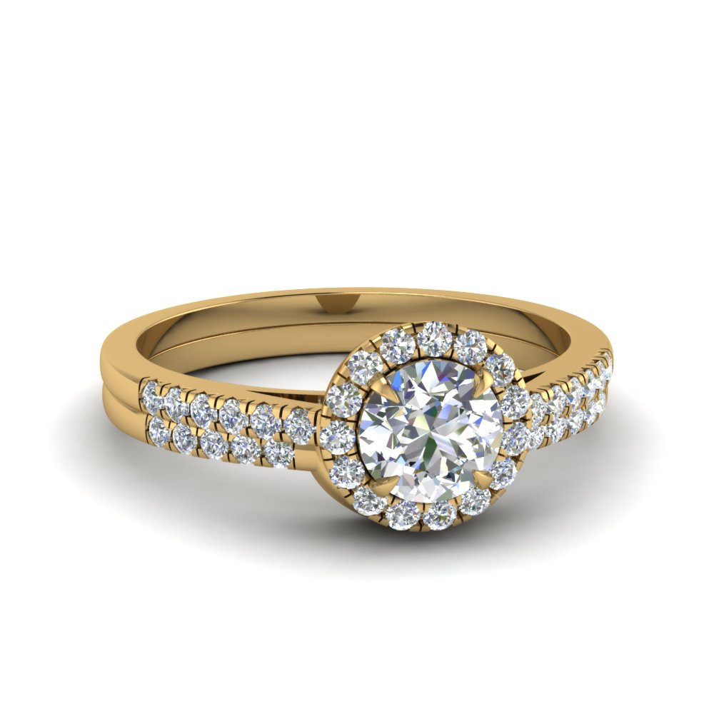 round cut pave halo diamond ring with curved wedding band in 14K yellow gold FD1024RO NL YG
