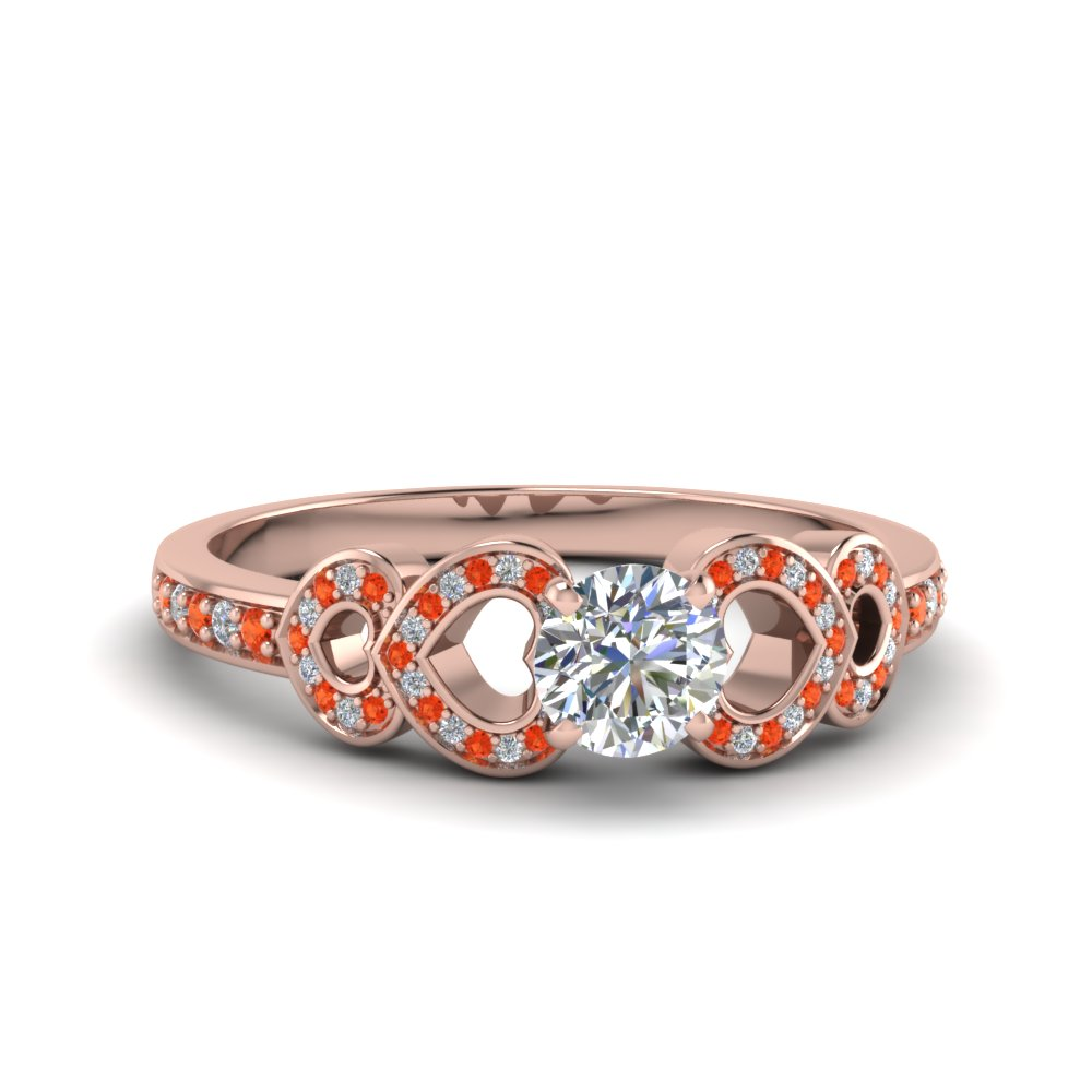 round cut pave heart design diamond engagement ring with orange topaz in FDENS3312RORGPOTO NL RG