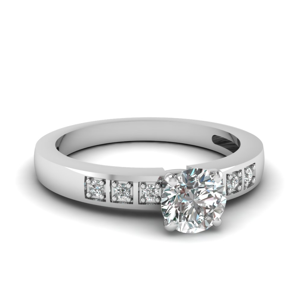 pave set square petite diamond women engagement ring in FDENS3091ROR NL WG