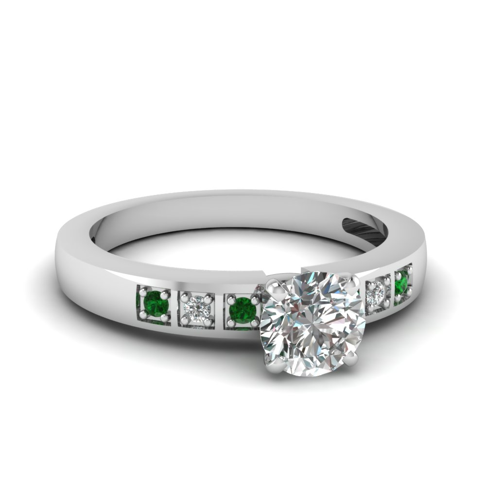Square Wedding Ring With Emerald