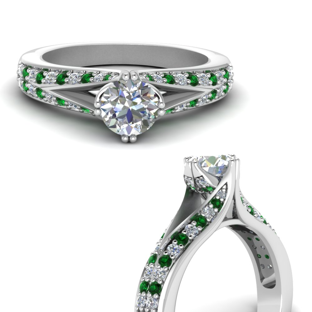 Pave Split Diamond Ring