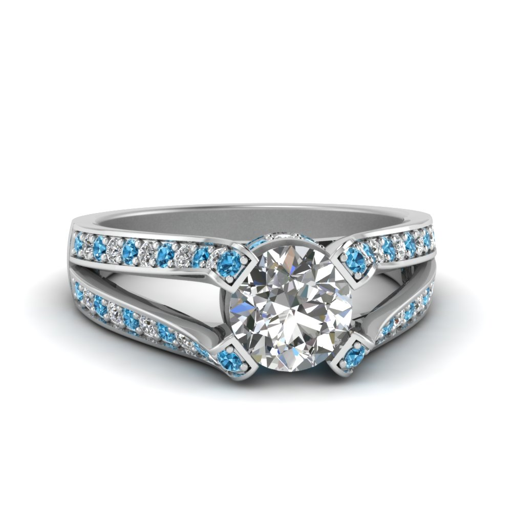 Round Pave Split Blue Topaz Ring