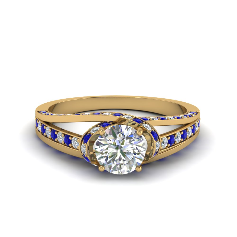 criss cross halo engagement ring with sapphire in FDENR8359RORGSABL NL YG