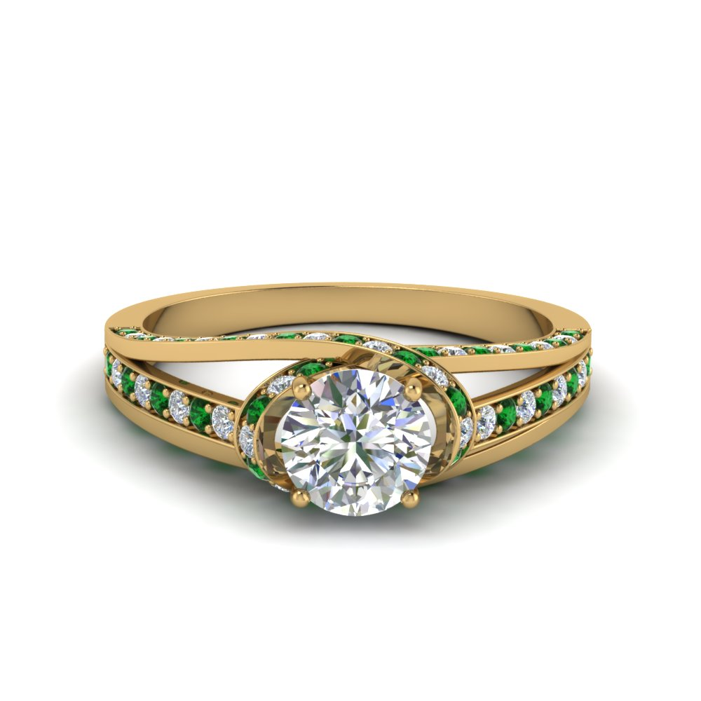 criss cross halo engagement ring with emerald in FDENR8359RORGEMGR NL YG