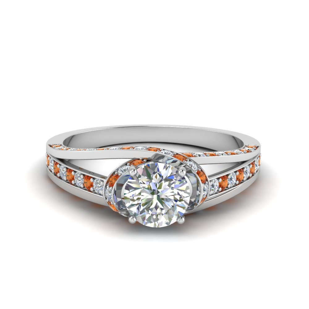 Round Orange Sapphire Engagement Ring