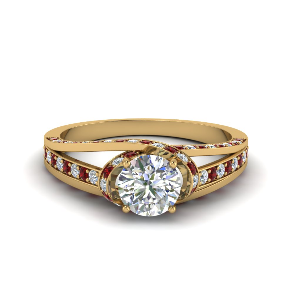 criss cross halo engagement ring with ruby in FDENR8359RORGRUDR NL YG