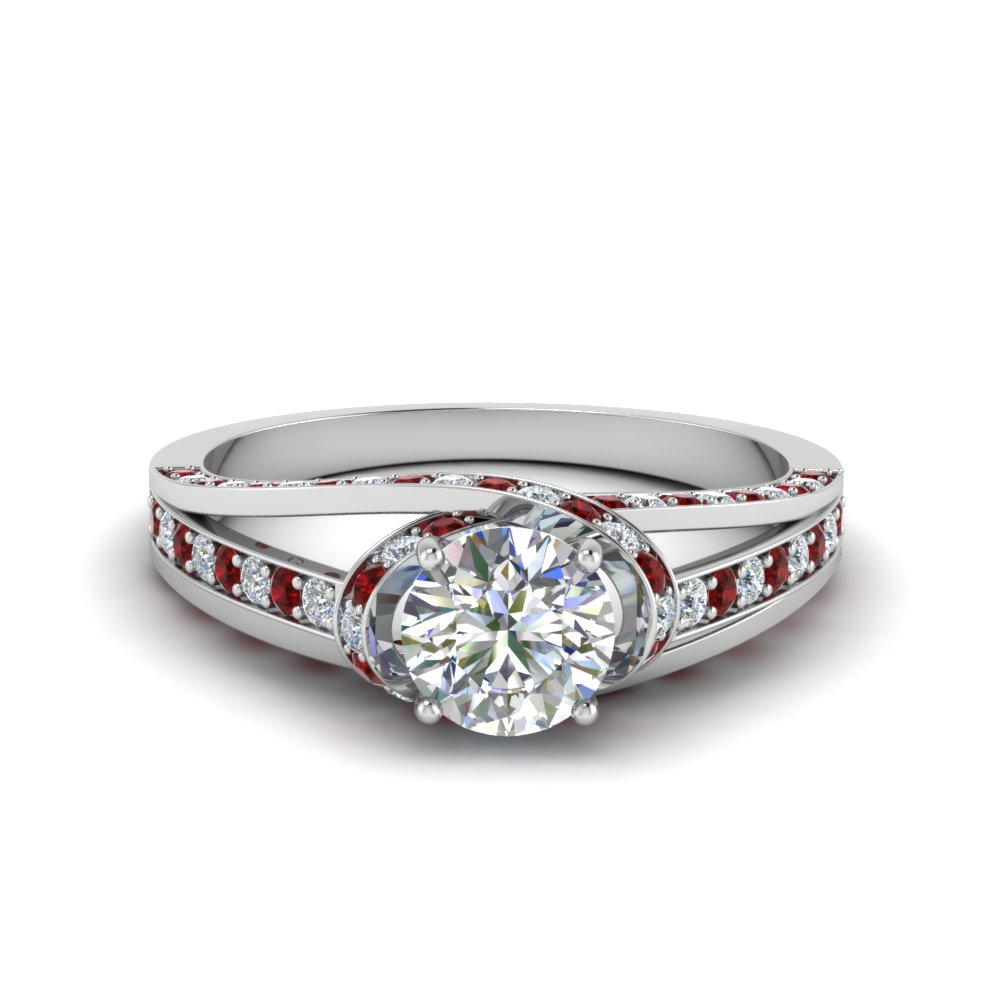 criss cross halo engagement ring with ruby in FDENR8359RORGRUDR NL WG