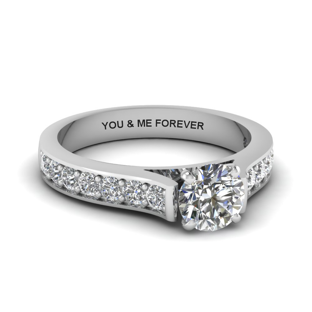 round cut personalized pave accent diamond engagement ring in FDENS1102ROR NL WG EG