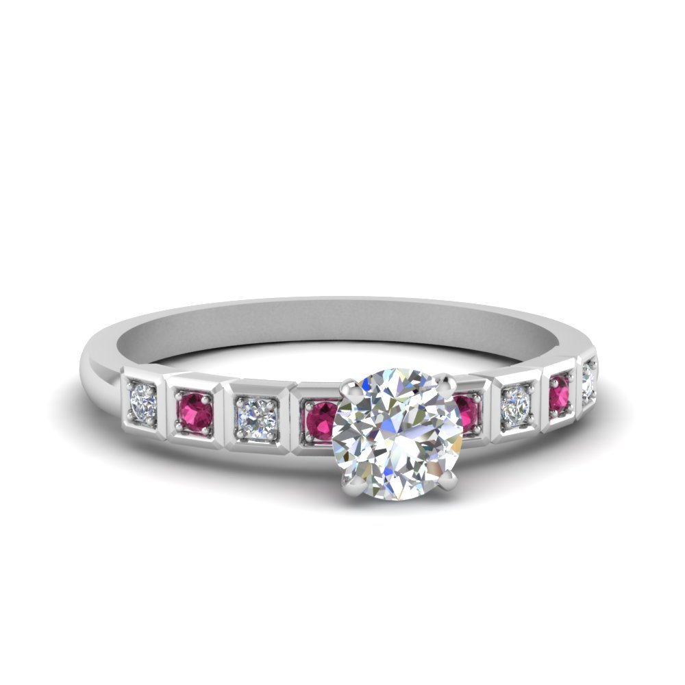 Round Cut Pink Sapphire Petite Rings