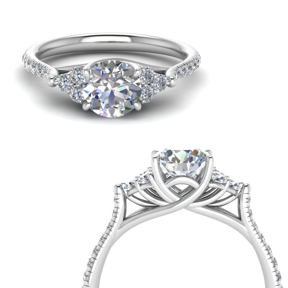 round cut petite cathedral diamond engagement ring in FD123457RORANGLE3 NL WG