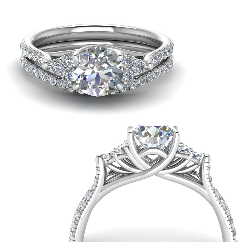 Round Cut Petite Cathedral Wedding Set