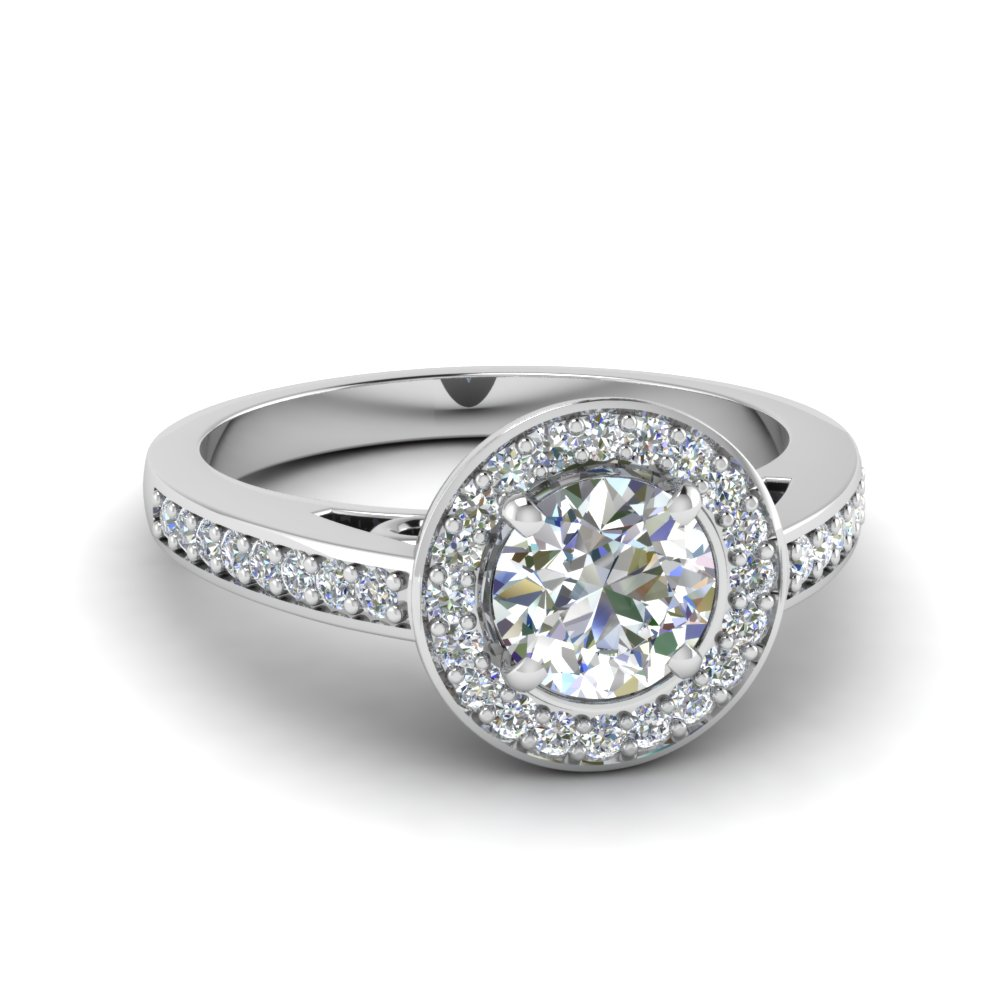 round cut petite halo pave diamond engagement ring in FDENS3187ROR NL WG.jpg