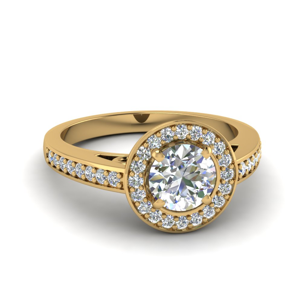 Petite Halo Pave Diamond Ring